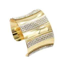 B-0920 New Fashion Rhinestone Gold Metal Open Cuff Bangles For Women Boho Wedding Party Jewelry