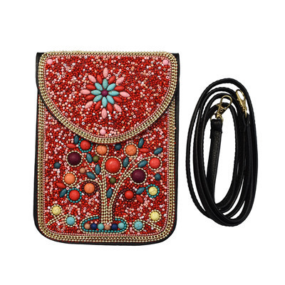 N-7177 4 Styles Turquoise Rice Beads Short Hand Bag Purse Cosmetic Bag