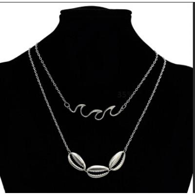 N-7180  2Pcs/set Vintage Silver Alloy Geometric Shape Necklaces for Women Boho Party Jewelry