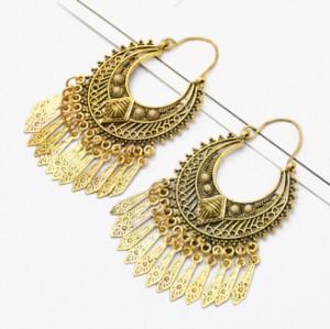 E-5087 Turkish Boho Gold Metal Tassel  Statement Earrings Creative Vintage Carved Flower  Drop Dangle Earrings for Women Festival Party Jewelry