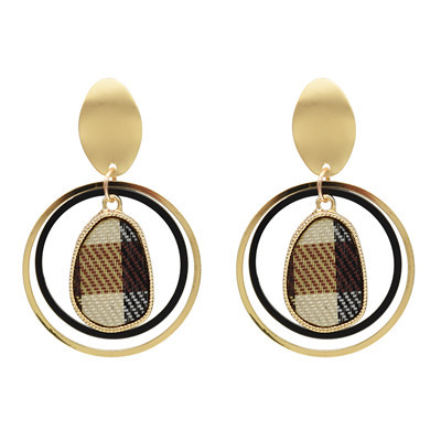 E-5088 Fashion Gold Metal Alloy Double Ring Three Layer Drop Earring
