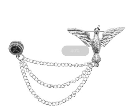 P-0426 Gold Silver Alloy Birds Brooches Coat Pins Collar Chain Women Men Suit Dress Accessories Party Jewelry
