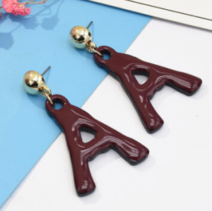 E-5090 6 Colors New Fashion Gold Metal Creative Letter A Shaped Pendant Drop Earrings For  Women Personalized Charming Jewelry