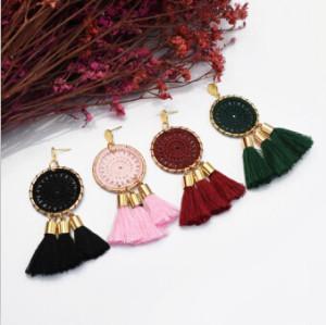 E-5096 Bohemian 5 Colors Big Wrapped Round Geometric Pendant Long Tassel  Drop Dangle Earrings Elegant Tassels Statement Earrings for Women