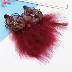 E-5095 New Fashion   4 Colors Trendy Alloy Textile Flower Acrylic  Bead  Feather Earring For Women Jewelry Design