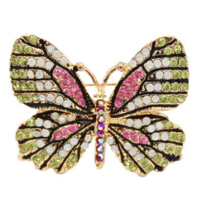 P-0428 Cute Butterfly Brooches For Women Rhinestone Crystal Dress Accessories Gift Brooches