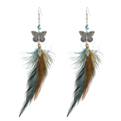 E-5098 Fashion Butterfly Shape Feather Drop Earrings for Women Boho Wedding Party Jewelry