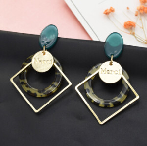 E-5099  Korean Gold Square Metal Acrylic Resin Round Circle Hanging Drop Earrings Creative Fashion Geometric Dangle Earrings for Women Festival Party Jewelry