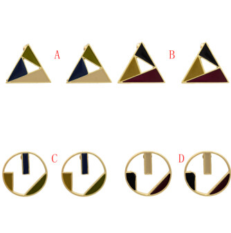 E-5106  4 Styles Korean Personalized Geometric Design Copper Stud Earrings Creative Fashion Triangle Round Shaped Earrings for Women Party Jewelry