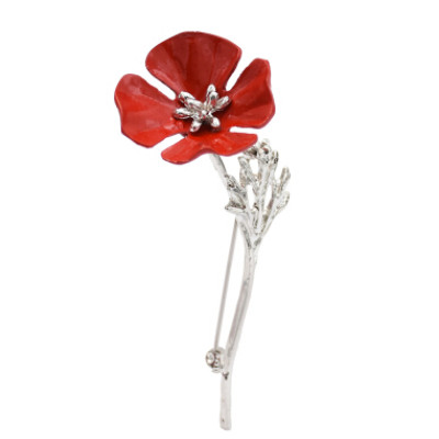 P-0430 Women Silver Gun Black Metal Red Flower Brooch Pins Shirt Dress Clothes Fashion Accessories