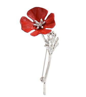 P-0430 Women Silver Gun Black Metal Red Flower Brooch Pins Shirt Dress Clothes Fashion Accessories