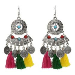 E-5111  Ethnic Silver Metal Cotton Thread Coin Tassel Drop Earrings for Women Boho Party Jewelry