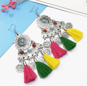 E-5111  Ethnic Silver Metal Cotton Thread Coin Tassel Drop Earrings for Women Boho Party Jewelry