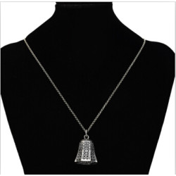 N-7181  2 Colors Vintage Alloy Carved  Bells Geometric Shaped Pendant Necklaces Long Chains Sweater Necklaces for Women Boho Party Jewelry