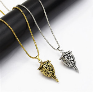 N-7182 New Fashion Bohemian 2 Colors Vintage Alloy Carved  Bells  Lamp Shaped Pendant Necklaces Long Chains Sweater Necklaces for Women