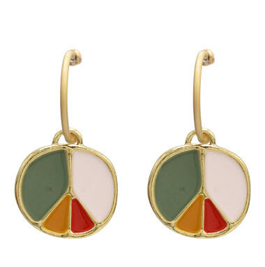 E-5113  Unique Gold Metal Enamel Drop Earrings for Women Boho Wedding Party Jewelry Gift