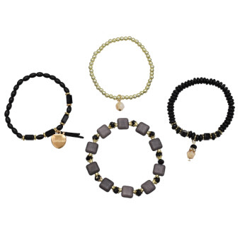 B-0924 5 Colors Boho Fashion Four Layer Chains Ethnic Custom Crystal Acrylic Beads Bracelets & Bangles for Women Wedding Party Jewelry