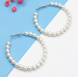 E-5114 Fashion Korean Simulated Pearls Circles Drop Earrings for women Bijoux Jewelry