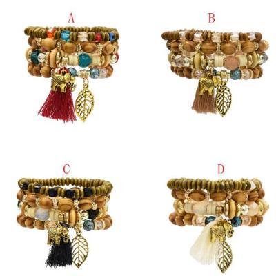B-0923  4 Colors Ethnic Tribal Bracelets Cuff Multi layer Vintage Wristband Wooden Beads Bracelet