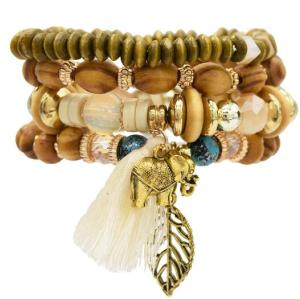 B-0923  4 Colors Ethnic Tribal Bracelets Cuff Multi layer Vintage Wristband Wooden Beads Bracelet