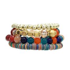 B-0925  5 Colors Ethnic Tribal Bracelets Cuff Multi layer Vintage Wristband Beads Bracelet