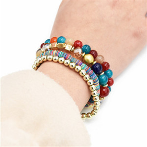 B-0925  5 Colors Ethnic Tribal Bracelets Cuff Multi layer Vintage Wristband Beads Bracelet