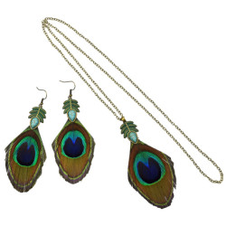 E-5112  N-7184 Vintage Peacock Feather Pendant Necklace & Earring Sets for Women Bobo Party Jewelry Sets