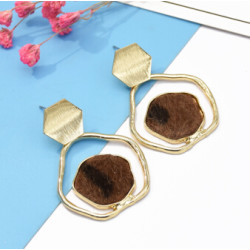E-5117  Unique Copper Gold Plated Metal Drop Earrings Geometric Horse Hair  Woolen Fabric Pandent Dangle for Women Boho Wedding Party Jewelry Gift