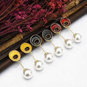 E-5118  3 Colors Unique Faux Pearl Drop Earrings Geometric Fashion Pandent Dangle Earrings for Women Boho Wedding Party Jewelry Gift