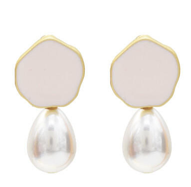 E-5119  5 Colors Fashion Enamel Gold Metal Simulated Pearl Drop Earrings for Women Girl Wedding Party Jewelry