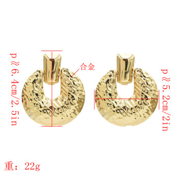 E-5120 Unique Silver Gold Plated Metal Drop Earrings Geometric Round Pendant Dangle for Women Boho Wedding Party Jewelry Gift