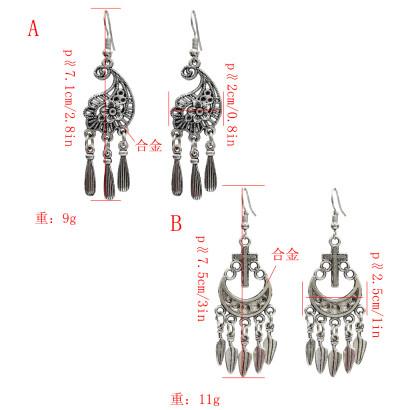E-5121 Vintage Silver Metal Cross Flower Shape Drop Earrings for Women Boho Wedding Party Jewelry Gift