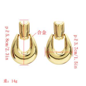 E-5125  3 Colors Fashion Glossy Alloy U-Type Earrings