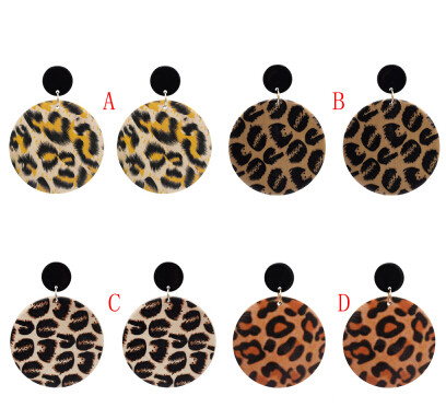 E-5126  Big Round Wooden Drop Earrings With Leopard Print Women Boho Party Jewelry