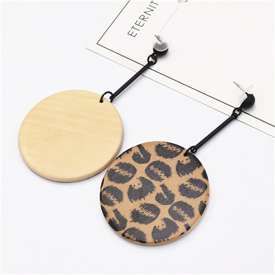 E-5124 New Fashion Bohe Big Round Wooden Drop Earrings With Leopard Print For Women Jewelry