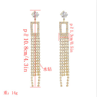 E-5127  2 Colors New Fashion Silver Gold  Geometric Shaped Long Crystal  Tassel Drop Earrings for Women Bridal Wedding Party Jewelry