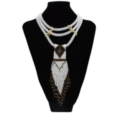 N-7186 6 Colors Beads Multilayer Bohemian Women's Necklace