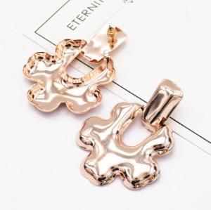 E-5130  3 Colors Fashion Gold Silver Metal Geometry Drop Earrings For Women Bijoux Jewelry