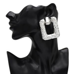 E-5128 New Trendy Gold Silver Metal Geometric Shape Drop Earrings for Women Boho Wedding Party Jewelry