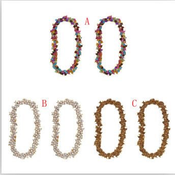 E-5131  3 Colors New Fashion Large Shinning Bling Bling Colorful Crystal  Tassel Drop Earrings for Women Bridal Wedding Party Jewelry