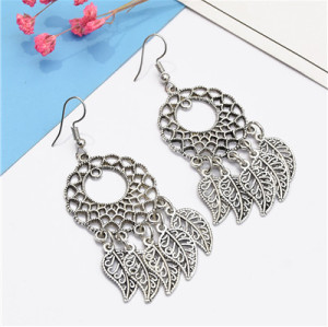 E-5132 Fashion Boho Silver  Metal Tassel  Statement Earrings Creative Vintage Carved Hollow Flower  Drop  Earrings for Women  Party Jewelry