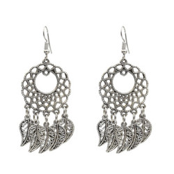 E-5132 Fashion Boho Silver  Metal Tassel  Statement Earrings Creative Vintage Carved Hollow Flower  Drop  Earrings for Women  Party Jewelry
