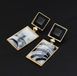 E-5133 2 Colors Fashion Geometric Square Rectangle  Acrylic Alloy Drop Elegant Earring For Women