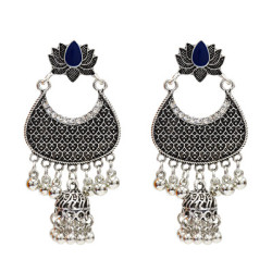 E-5142  4 Colors Indian Style Vintage Silver Anemone Rhinestone Metal Tassel Earring