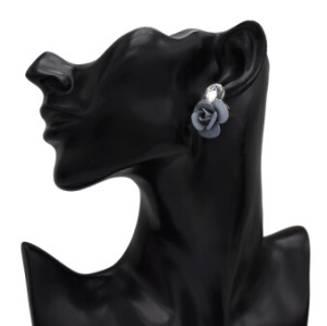 E-5141 Korean 3 Colors New Fashion Little Mini Rose Flower Drop Earrings Glass Crystal Charming Earrings for Bride Women Wedding Jewelry