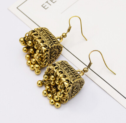 E-5146 Gypsy Vintage Metal Tassel Drop Earrings for Women Wedding Boho Party Jewelry