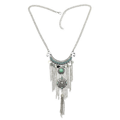 N-7188 Fashion Silver Metal Rhinestone Turquoise Round Shaped Tassel Pendant  For Women Necklace Jewelry.