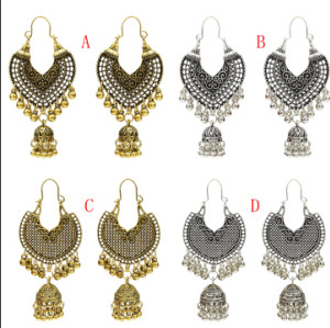 E-5154 Vintage Silver Gold Metal Bells Tassel Drop Earrings for Women Indian Party Jewelry Gift