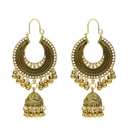 E-5155  Vintage Silver Gold Metal Bells Tassel Drop Earrings For Women Indian Party Jewelry
