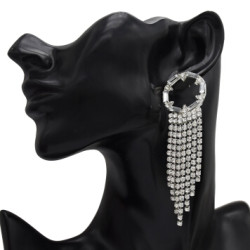 E-5157  New Fashion Silver Gold Geometric Shape Metal Crystal Long Tassel Earring for Women Bridal Wedding Party Jewelry